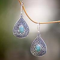 Aventurine dangle earrings, 'Sacred Lake' - Handcrafted Teardrop Silver Dangle Earrings with Aventurine