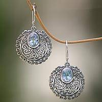 Blue topaz dangle earrings, 'My Blue Earth' - Artisan Crafted Blue Topaz and Sterling Silver Earrings