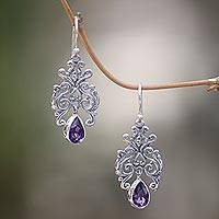 Amethyst dangle earrings, 'Amethyst Forest' - Artisan Crafted Amethyst and Sterling Silver Dangle Earrings