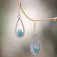 Turquoise dangle earrings, 'Turquoise Eyes' - Turquoise and Sterling Silver Hand Crafted Dangle Earrings