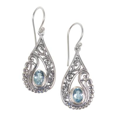 Artisan Crafted Blue Topaz and Sterling Silver Earrings