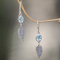 Blue topaz dangle earrings, 'Passionate Hope' - Balinese Silver Dangle Earrings with Blue Topaz