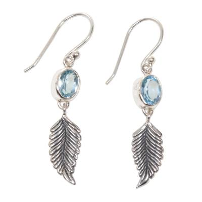 Balinese Silver Dangle Earrings with Blue Topaz