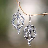 Sterling silver dangle earrings, 'Tassels' - Hand Crafted Sterling Silver Dangle Earrings from Bali