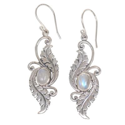 Rainbow Moonstone Garden Theme Silver Earrings from Bali