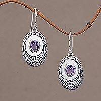 Amethyst dangle earrings, 'Brilliance' - Hand Crafted Amethyst and Sterling Silver Dangle Earrings