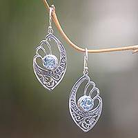 Blue topaz dangle earrings, 'Blue Wings'