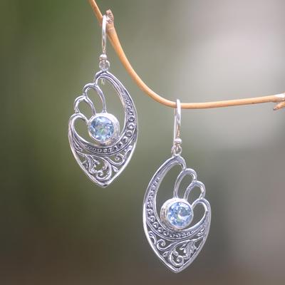Blue topaz dangle earrings, 'Blue Wings' - Handmade Blue Topaz and Sterling Silver Dangle Earrings