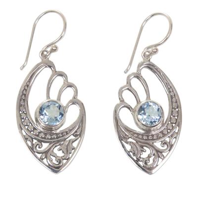 Handmade Blue Topaz and Sterling Silver Dangle Earrings