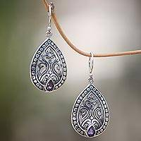 Amethyst dangle earrings, 'Temple in the Forest' - Balinese Sterling Silver Dangle Earrings with Amethyst