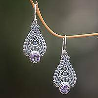 Amethyst dangle earrings, 'Tears of Happiness' - Lacy Amethyst Earrings Handcrafted with Sterling Silver