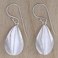 Sterling silver dangle earrings, 'Satin Star Fruit' - Star Fruit Inspired Balinese Artisan Crafted Silver Earrings