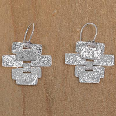 Sterling silver dangle earrings, 'Building a Masterpiece' - Handcrafted Contemporary Balinese Silver Earrings