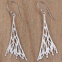 Sterling silver dangle earrings, 'Balinese Branch Coral' - Sterling Silver Fair Trade Coral Theme Earrings