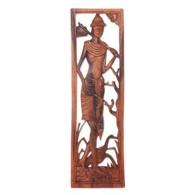Wood relief panel, 'Coming Home' - Balinese Wood Relief Panel Depicting a Man with Ducks