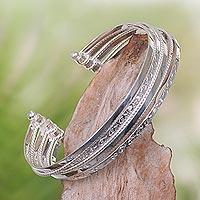 Sterling silver cuff bracelet, 'Unity in Diversity' - Contemporary Handcrafted Sterling Silver Cuff Bracelet