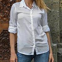 Rayon blouse, 'White Balinese Pearl' - Women's Sheer White 6-Button Rayon Shirt Blouse