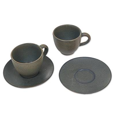 Ceramic cups and saucers, 'Memory' (pair) - Hand Crafted Ceramic Tea Cups with Saucers in Grey (Pair)