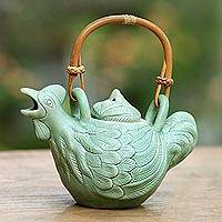 Ceramic tea pot, 'Happy Hen' - Hand Crafted Balinese Ceramic Hen Tea Pot in Green