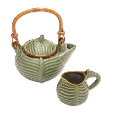 Ceramic tea pot set, 'Little Toad on a Banana Leaf' - Artisan Crafted Ceramic Tea Pot Set with Toad and Leaf Motif