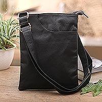 Leather shoulder bag, 'Reign of Jogja'