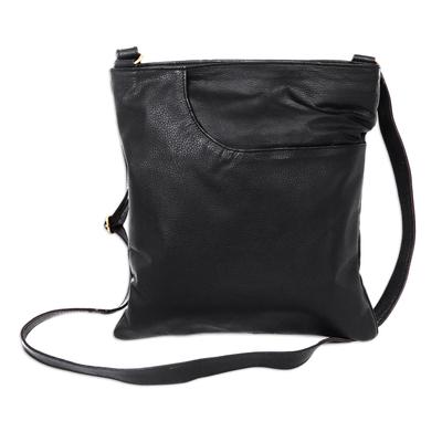 Leather shoulder bag, 'Reign of Jogja' - Versatile Black Leather Shoulder Bag with Multi Pockets