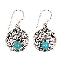Turquoise dangle earrings, 'Misty Lake' - Handcrafted Natural Turquoise Earrings in Sterling Silver