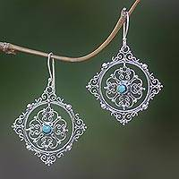 Turquoise dangle earrings, 'Flames of Lace' - Sterling Silver and Natural Turquoise Earrings from Bali