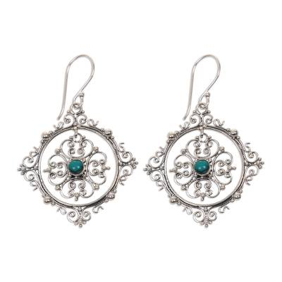 Balinese Natural Turquoise and Sterling Silver Dangle Earrings