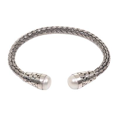 Balinese Sterling Silver Cuff Bracelet with Cultured Pearls