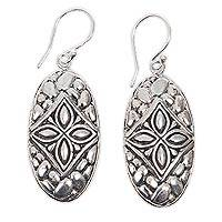 Sterling silver dangle earrings, 'Sukawati Jasmine' - Jasmine Theme Handcrafted Balinese Earrings in Silver 925