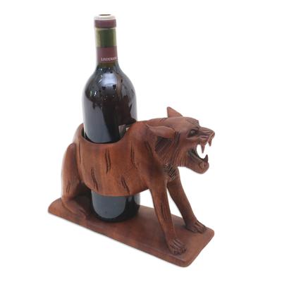 Wood bottle holder, 'Sumatran Tiger' - Balinese Hand Carved Sumatran Tiger Wood Wine Bottle Holder
