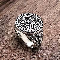 Sterling silver signet ring, 'Bali Jungle' - Combination Finish Sterling Silver Ring with Floral Motif