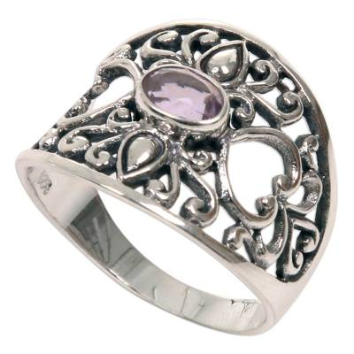 Amethyst band ring, 'Garden of Mystique' - 925 Silver Heart Band Ring with Amethyst Fair Trade Jewelry