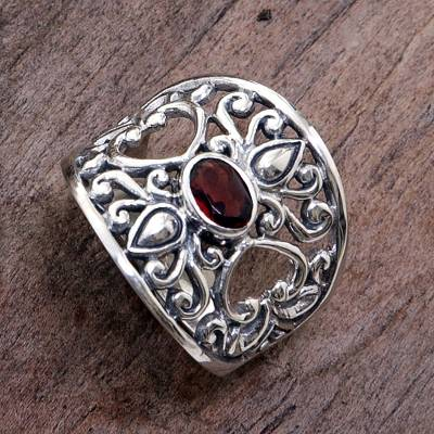 Garnet band ring, Garden of Passion