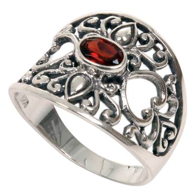 Fair Trade 925 Silver Jewelry Heart Band Ring with Garnet