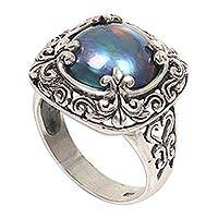 Cultured mabe pearl cocktail ring, 'Blue Lunar' - Mabe Pearl and Sterling Silver Floral Motif Cocktail Ring