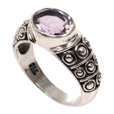 Amethyst band ring, 'Sukawati Tradition' - Balinese Handcrafted Amethyst Silver Band Ring