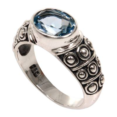 Blue topaz band ring, 'Sukawati Tradition' - Blue Topaz Balinese Band Ring Crafted of Sterling Silver