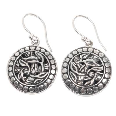 Sterling silver dangle earrings, 'Bamboo Labyrinth' - Balinese Sterling Silver Bamboo Theme Handcrafted Earrings