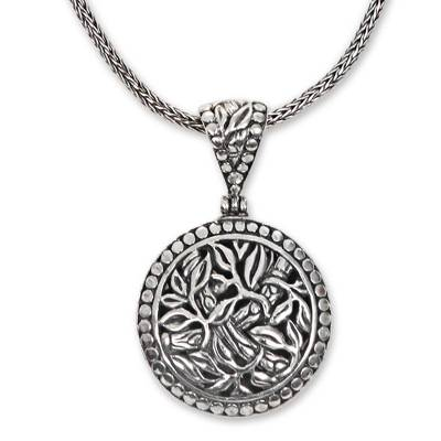 Sterling silver pendant necklace, 'Bamboo Labyrinth' - Balinese Sterling Silver Bamboo Theme Handcrafted Necklace