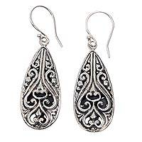 Sterling silver dangle earrings, 'Bali Fern Labyrinth' - Handcrafted Balinese Sterling Silver Hook Earrings