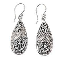 Sterling silver dangle earrings, 'Chrysalis' - Fair Trade Sterling Silver Dangle Hook Earrings