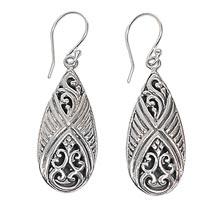 Sterling silver dangle earrings, 'Chrysalis'