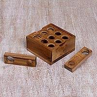 Teak wood puzzle, 'Target' - Artisan Crafted Upcycled Teak Wood Puzzle from Java