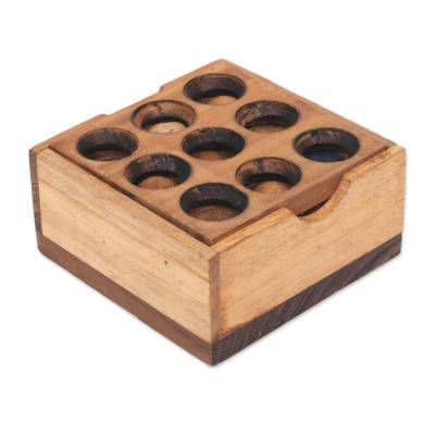 Teak wood puzzle, 'Target' - Artisan Crafted Upcycled Teakwood Puzzle from Java
