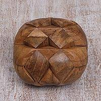 Teakwood puzzle, 'Open Me Up' - Fair Trade Recycled Teakwood Puzzle from Java