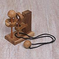 Teakwood puzzle, 'Sneaky Ball' - Hand Crafted Recycled Teakwood Executive Game from Java