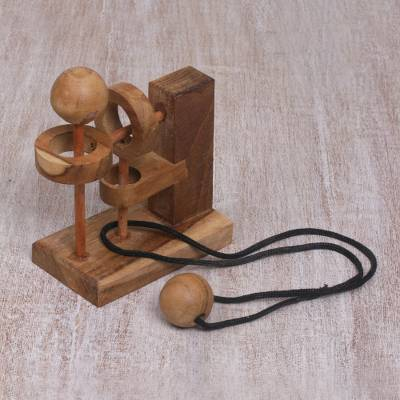 Hand Crafted Recycled Teakwood Executive Game from Java, 'Sneaky Ball'