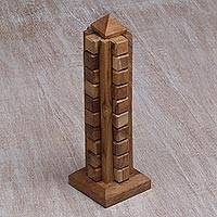 Teakwood puzzle, 'Tower' - Handmade Javanese Recycled Teakwood Desktop Puzzle